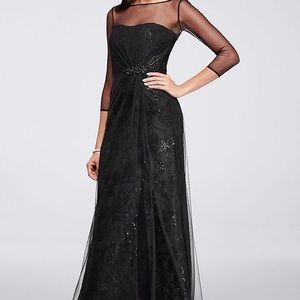 Long Crepe Dress With Sequin Flowers and Sleeves
